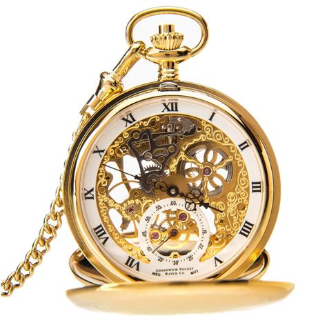 greenwich gold plated mechanical pocket
