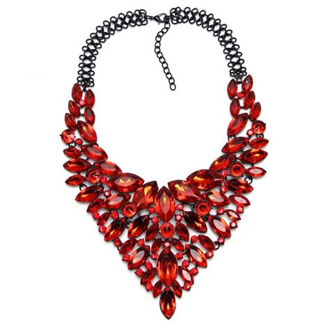 Statement Necklace ruby marquise cascade statement necklace