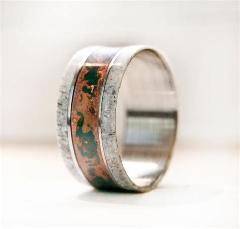 mens wedding band with antler patina copper and by