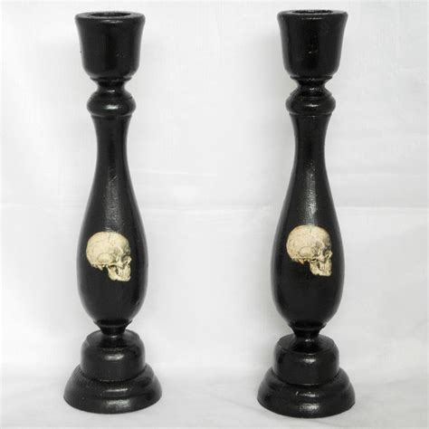 home decor black candle holder skulls