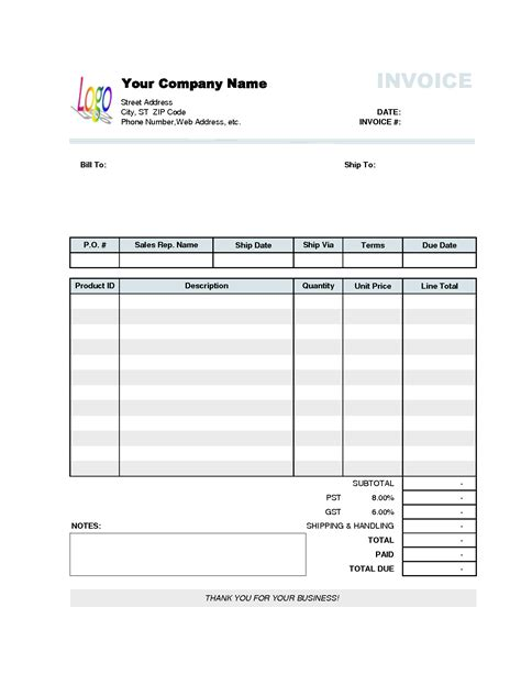 invoice template excel free download or fake utility bill template