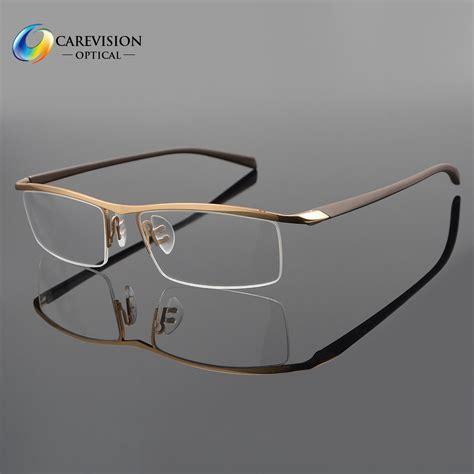 half rimless titanium eyeglass frame spectacles