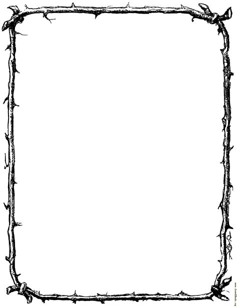Border Of Twigs Us Letter Sized Version Letter Border Template