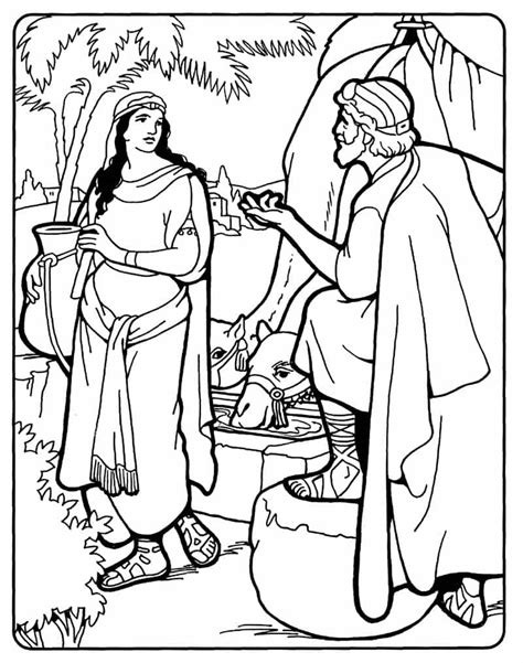 printable coloring pages woman at the well free rebecca at the well coloring pages