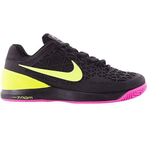 nike zoom cage 2 s tennis shoe black pink volt