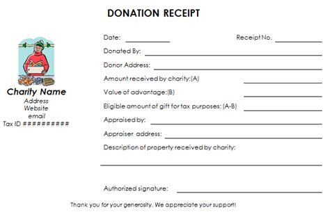 charity receipt template nonprofit donation receipt template