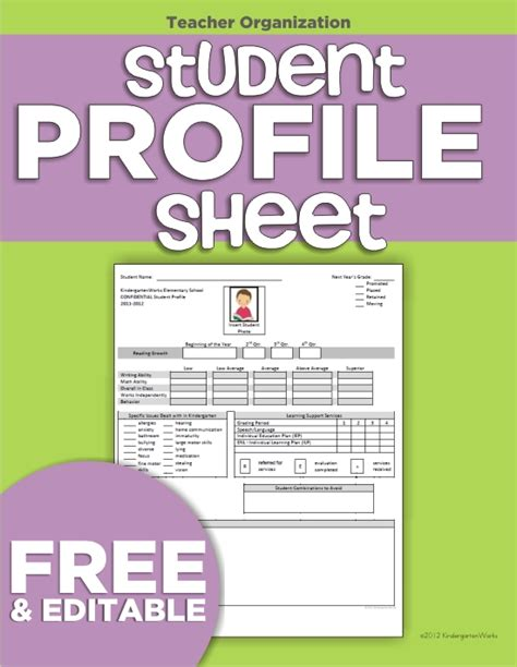 student profile template profile sheet template images
