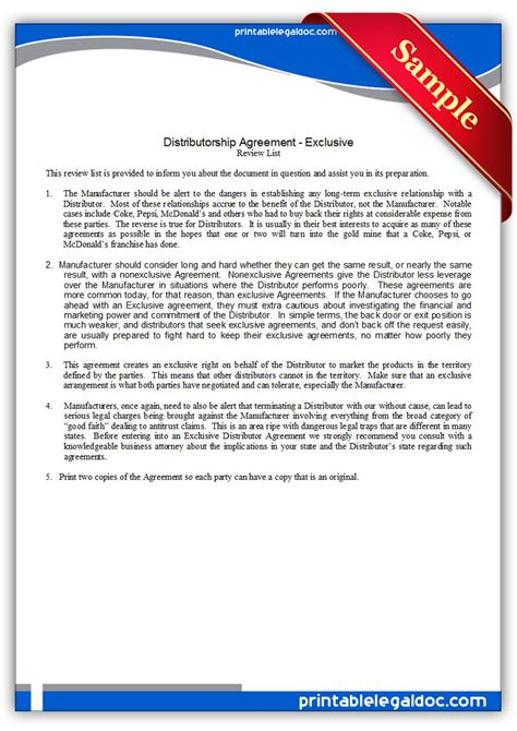 Letter Of Distribution Agreement Free Printable Distributor Agreement Exclusive Form Generic