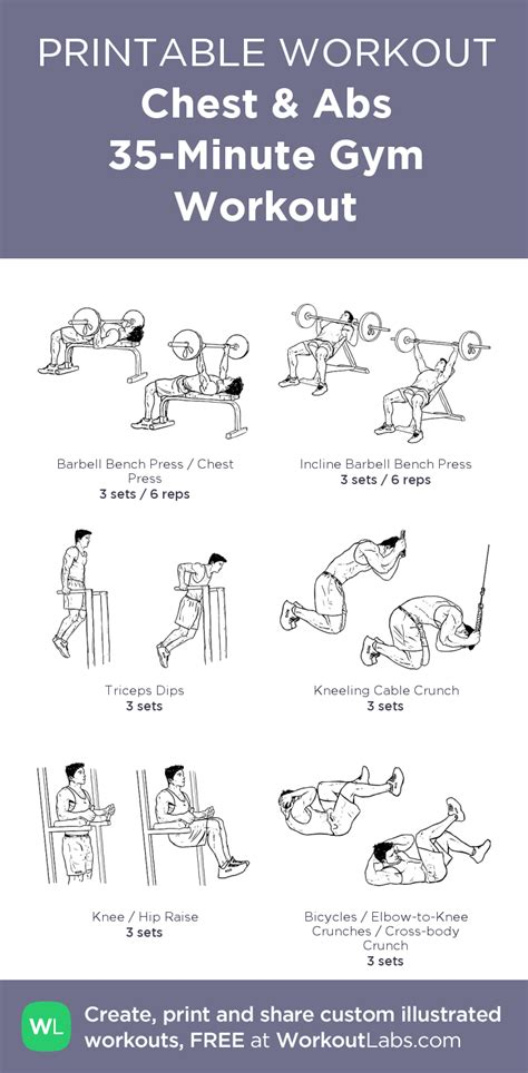 printable workout plan for the gym chest abs 35 minute gym workout my custom exercise