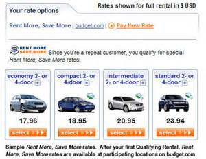 Car Rental Budget Locations Rent More Save More Frequent Renter Budget