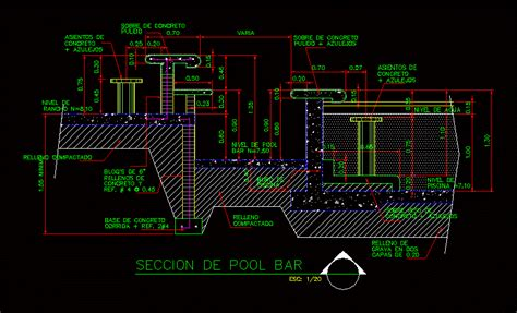 detail  pool bar dwg section  autocad designs cad