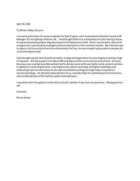 Reference Letter For Hr Fregien Cree Hr Manager Letter Of Recommendation
