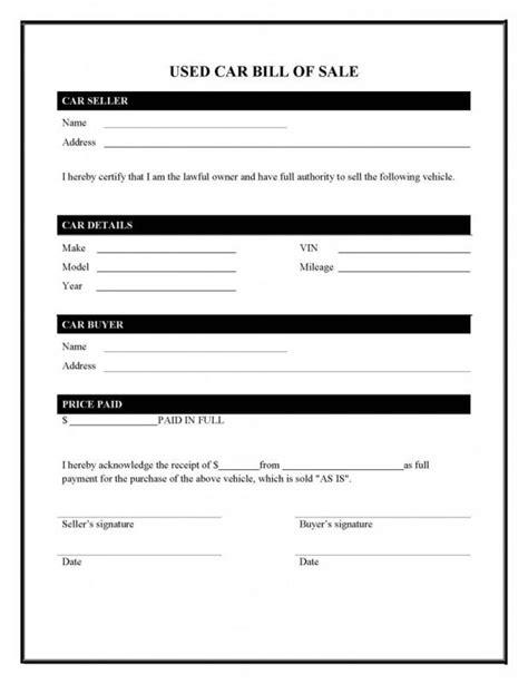 used car bill of sale template pdf car bill of sale pdf template business