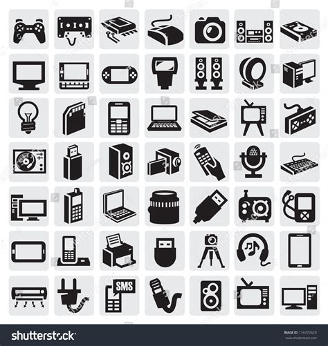 electronic bid big icon set of electronic devices on gray stock vector