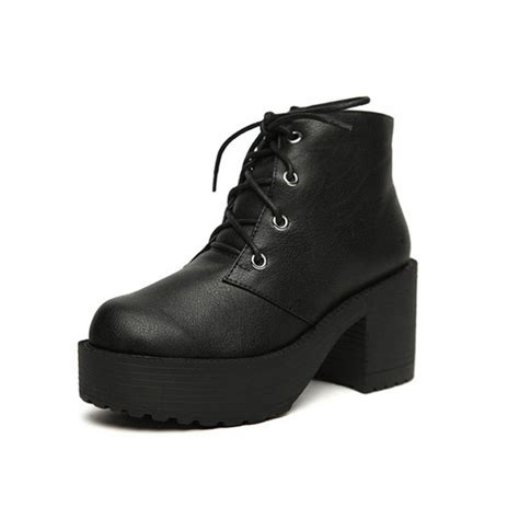 Lace Up Platform Boots black leather platform lace up heel boots