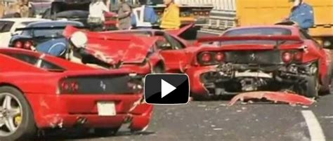 8 Ferrari Accident by Video 8 Ferraris 3 Benzs And A Lambo Involved In A 14