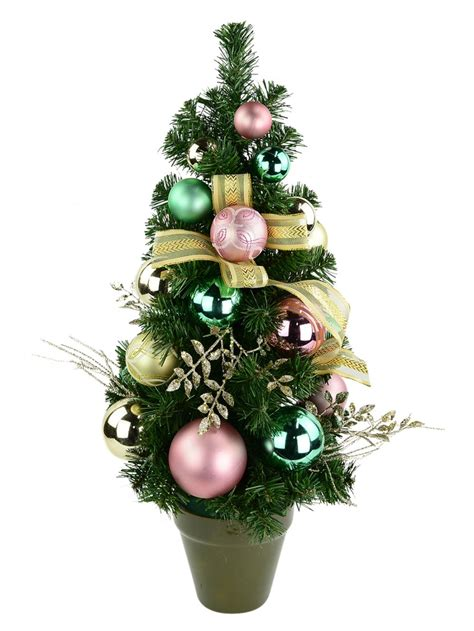 gold pink mint green pre decorated table top tree