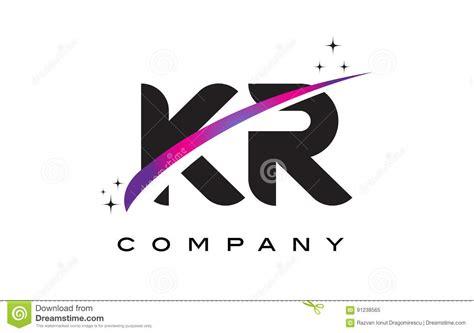 k r design kr k r black letter logo design with purple magenta swoosh