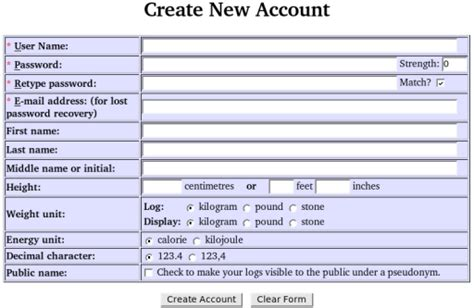 user creation form template the hacker s diet