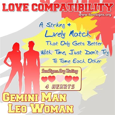 gemini man and leo woman love compatibility sun signs