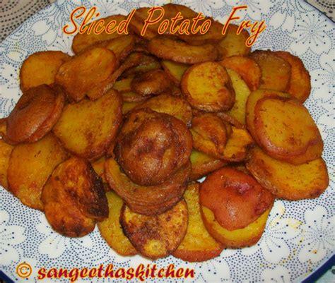 spicy treats sliced potato fry urulai kizhangu varuval easy potato fry