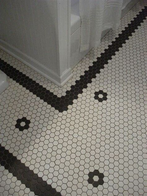 Vintage bathroom tile floor obsessed home pinterest tiles for bathrooms hexagons and flower