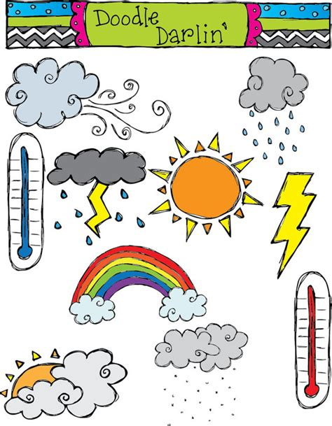 kid doodle free items similar to weather combo clipart set instant