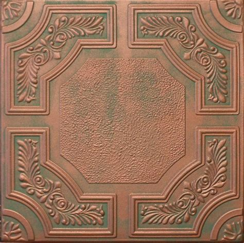 painted tin look ceiling tiles copper patina r28 finish ebay
