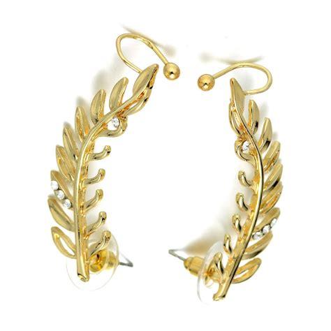 rhinestone earring clip on earring gold tone earrings olive leaves sweep earring vine