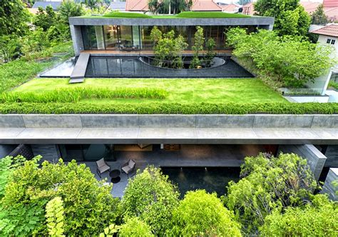 green roof green roof house in singapore the wall house modern
