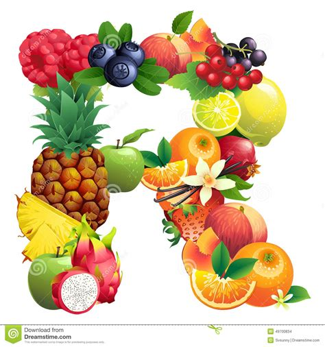 fruit 5 lettres letter r composed of different fruits with leaves stock