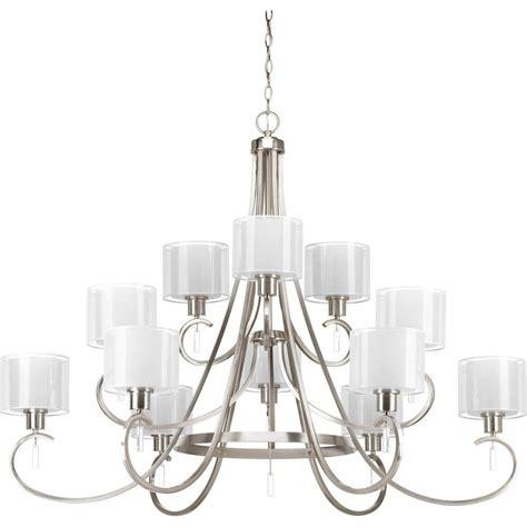 progress lighting brushed nickel chandelier progress lighting wisten collection 9 light brushed nickel