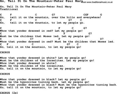 printable lyrics go tell it on the mountain summer c song go tell it on the mountain peter paul