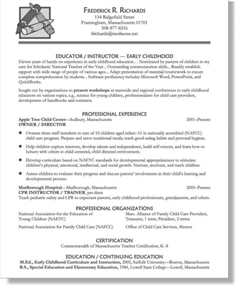 early childhood education resume sles chapter 4 resumes for early childhood educators expert