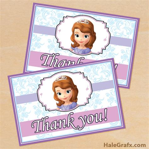 1st birthday thank you card free template free printable sofia the thank you card