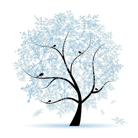 winter tree from snowflakes by the vector colourbox winter tree snowflakes stock vector colourbox