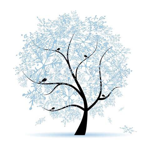 winter tree snowflakes stock vector winter tree snowflakes stock vector colourbox