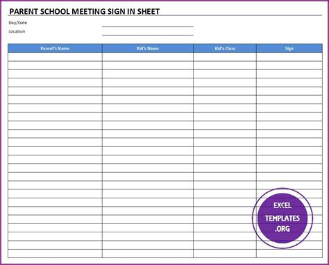 Meeting Sign In Sheet Template School Sign Template