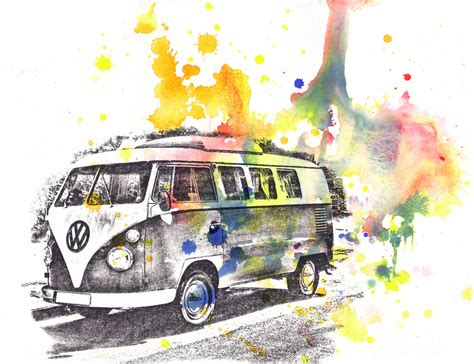 volkswagen bus painting retro vintage art volkswagen vw van bus watercolor