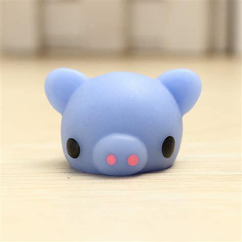 Pig Squeeze mochi blue piggy squishy squeeze pig healing