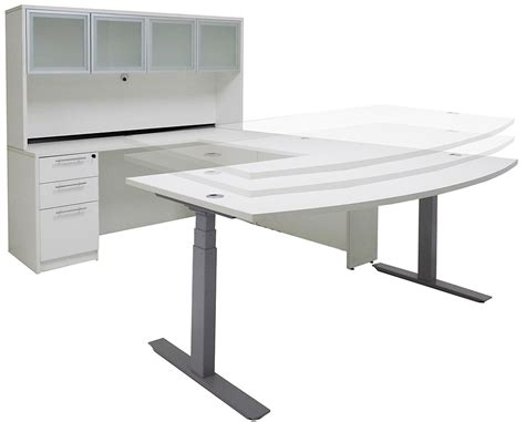 Electric Lift Adjustable Height White U Desk W Hutch Electric Desks That Adjust Height
