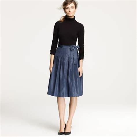j crew knife pleat wrap skirt in silk taffeta in blue