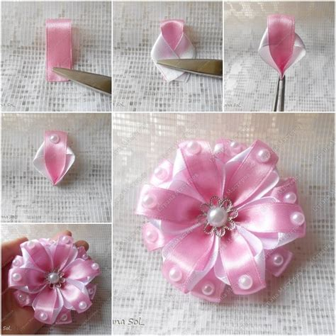 How To Make Flowers Out Of Paper Ribbon - wonderful diy pretty ribbon flower headband