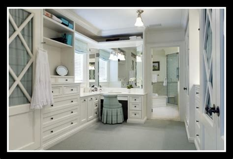 walk in closet the bathroom with a makeup vanity with