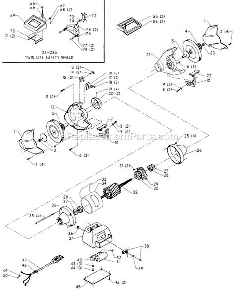 delta bench grinder parts delta 23 907 parts list and diagram type 1