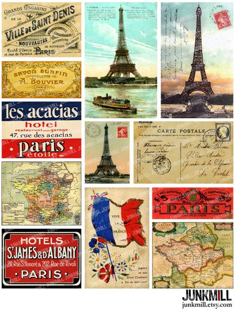 printable travel postcards travel france digital printable collage sheet by junkmill