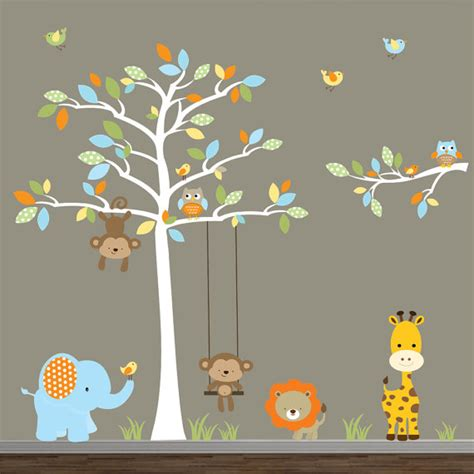 jungle wall decal with tree by modernwalls on etsy