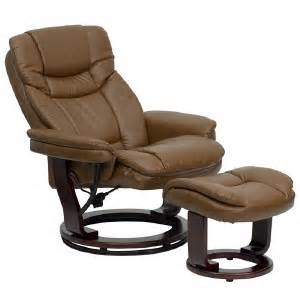 Overstuffed Chairs With Ottoman Overstuffed Luxury Brown Leather Recliner Lounge Chair Ottoman Swivel Wood Base Ebay