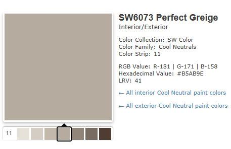 sw 6073 perfect greige color for one of the upstairs sherwin williams perfect greige paint colors pinterest