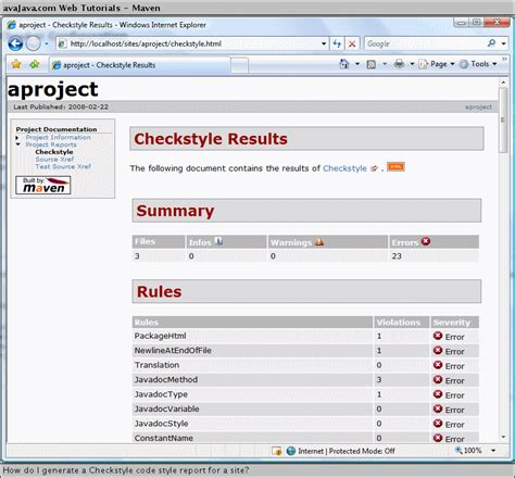 xml reports tutorial java checkstyle eclipse